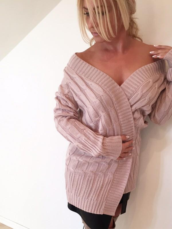 Sweter Rozpinany. Róż Puder