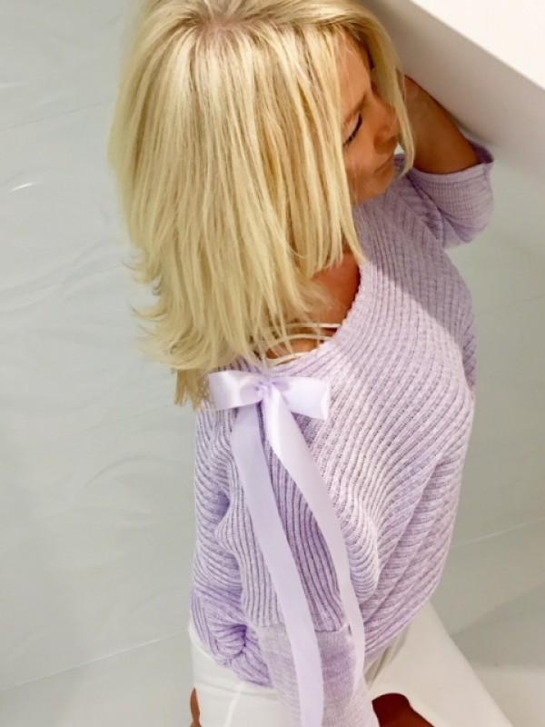 bluzka prążek z kokardą na ramieniu lila