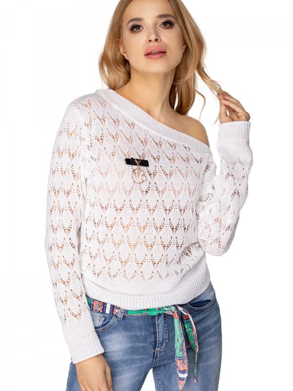 sweter ażurowy w romby