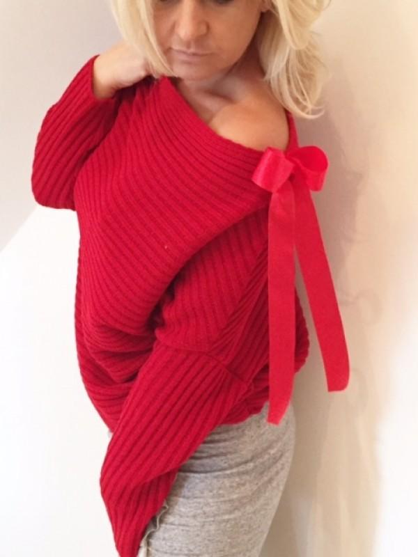 Sweter Prążek z Kokardą czerwony