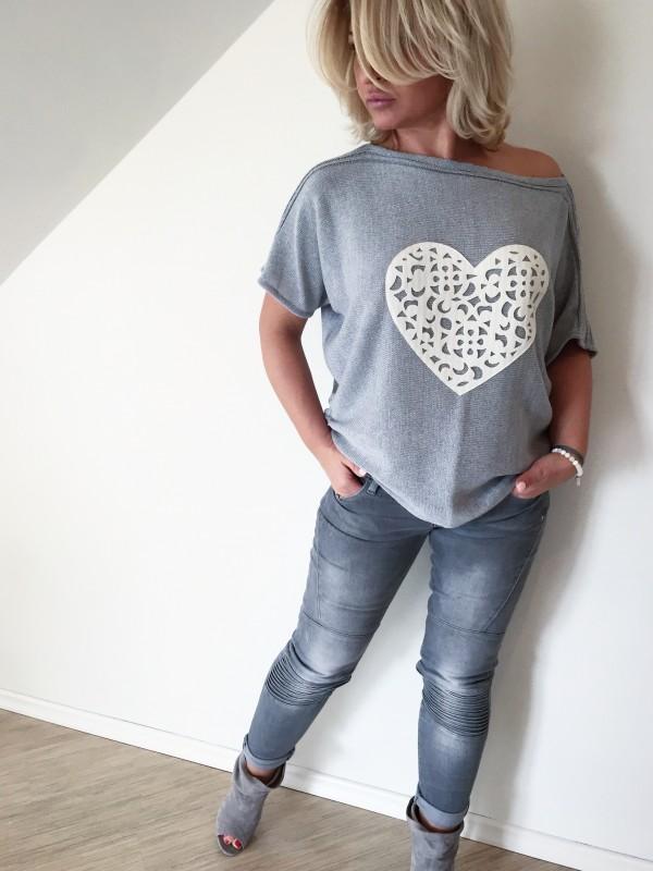 Bluzka Ażurowe Serce. Kolor Szary