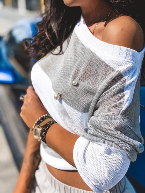 Sweter pasy ze szpilką