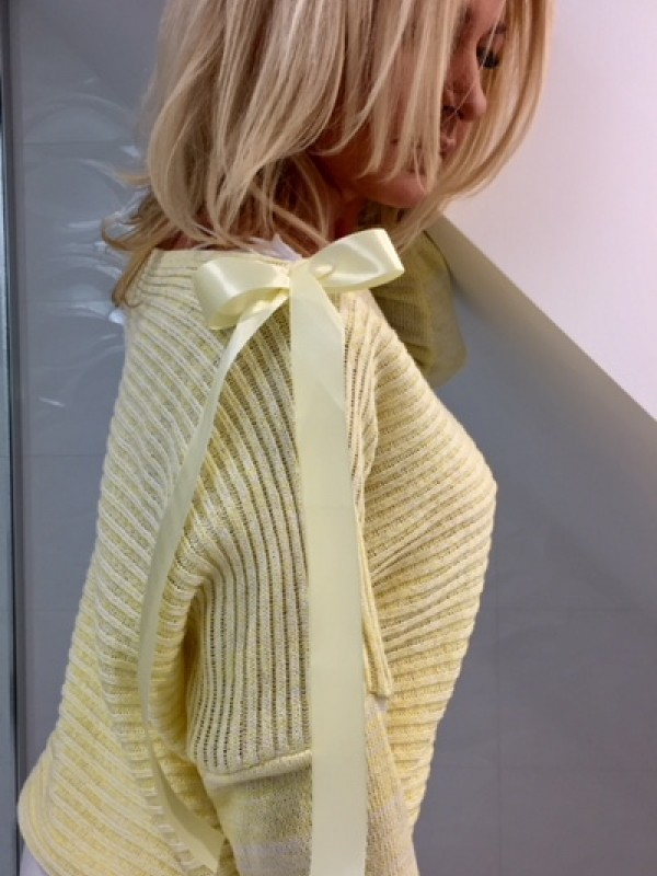 bluzka prążek z kokardą na ramieniu żółta